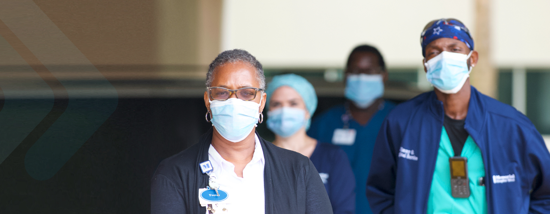 Healthcare workers wearing masks for safety