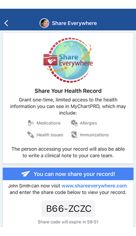 screenshot of MyChart Shareeverwhere interphase that allows you to request a code and then share it with someone you want to grant temporarily access to your medical record