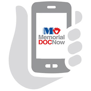 Phone in hand with MemorialDOCNow app