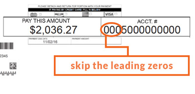 Skip the leading zeroes in your account number