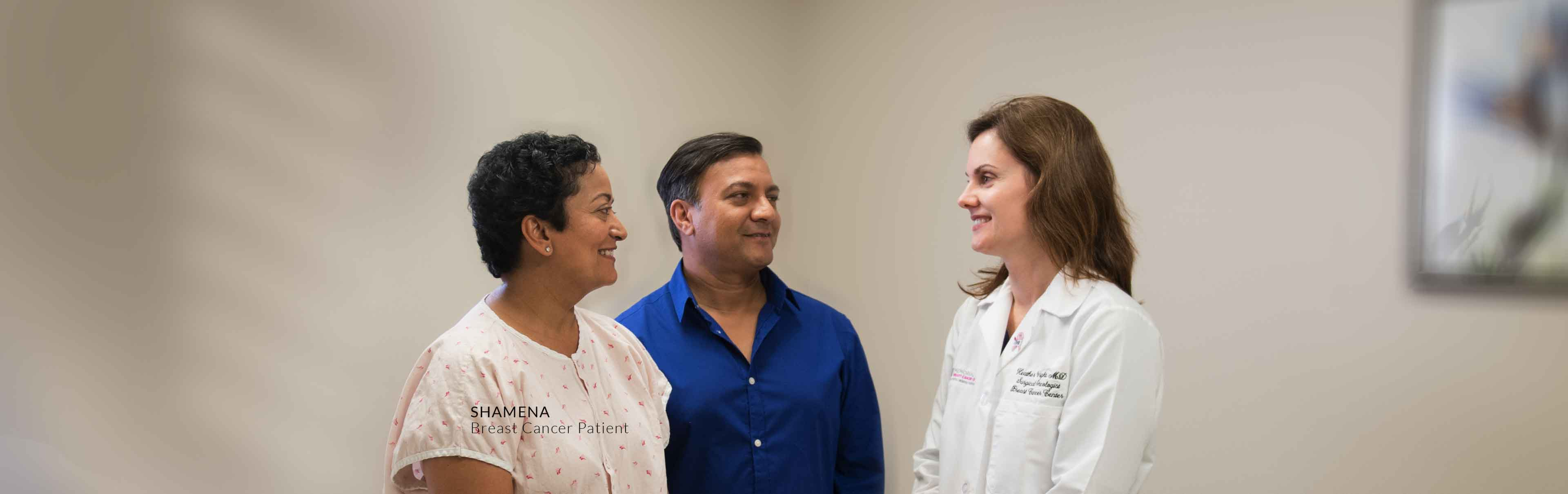 Shamena, Breast Cancer Patient, and husband with Dr. Heather Wright
